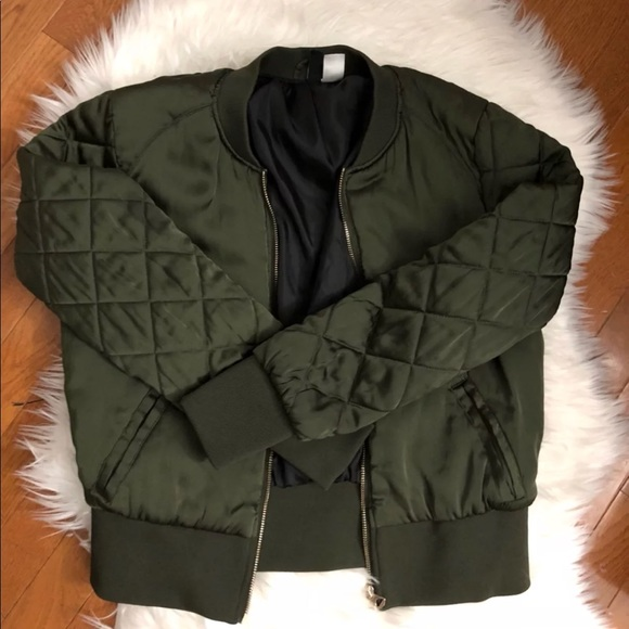 Hm Jackets Coats Olive Green Quilted Bomber Jacket Poshmark
